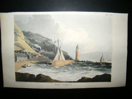 Ackermann C1815 Hand Col Print. Port Patrick, Scotland. Lighthouse